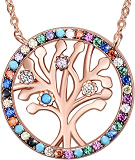 E Tree of Life Necklaces for Women, Gemstone Jewelry Love Gifts for Family