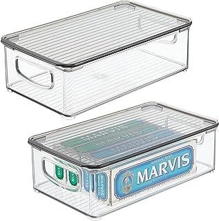 mDesign Pojemnik na szuflady z pokrywą – do przechowywania w gospodarstwie domowym – pudełko do przechowywania produktów z...