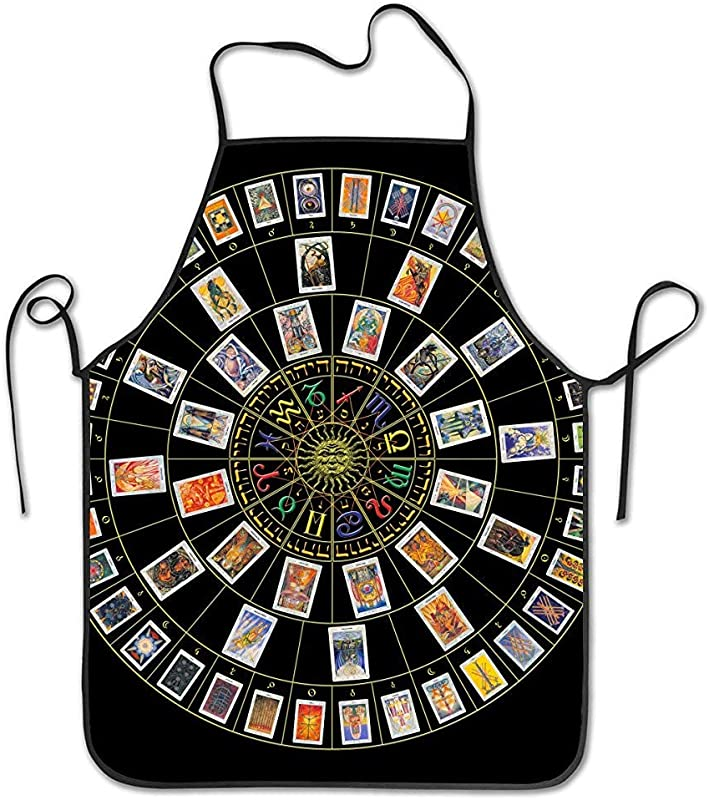 Mesllings Women Men Premium Quality Kitchen Aprons Astrology Tarot Original Art Overlock Washable Durable String Apron For BBQ Cooking Working Grilling Baking Crafting