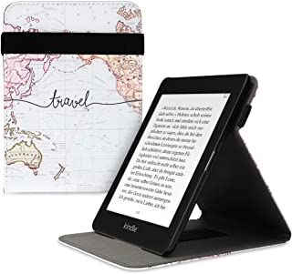 kwmobile 対応: Amazon Kindle Paperwhite (10. Gen - 2018) ケース - バンド スタンド付き カバー - 電子書籍 保護ケース 世界地図 トラベルデザイン 黒色/マルチカラー