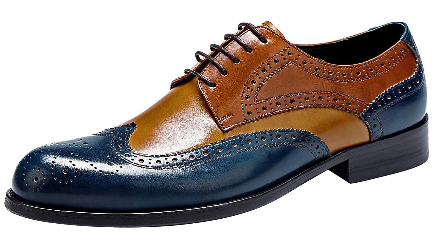 Mens Wingtip Oxford Shoes for Men - Mens Genuine Leather Dress Shoes, Brogue Formal Shoes, Lace-up Derbies Shoes