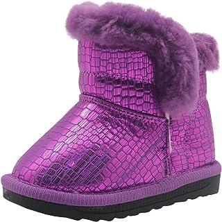 Shengjuanfeng Zapatos para niños pequeños Calzado de Invierno cálido Calzado Plano Botas de Nieve con Forro de Lana Zapatos (Color : Purple, Size : 5 M US Toddler)