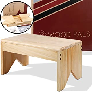 Wooden Step Stool Eco - Very Study, Perfect Getting up to Bed, Easy Reach High Places in Kitchen, Bathroom, Closet, Sink. Great Kids Step Stool + Adults. Made Lightweight Quality Pine, Attractive