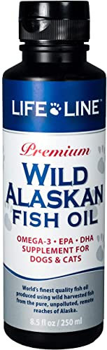 discount Life Line Pet Nutrition Wild Alaskan Fish Oil Omega-3 Supplement for Skin & Coat – lowest Supports Brain, Eye & Heart Health in Dogs & wholesale Cats outlet sale