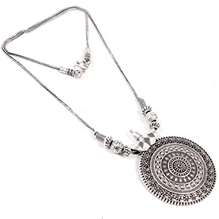 Natures Buggy Oxidised Jewellery Round Pendant for Girls & Women - Oxidized Necklace
