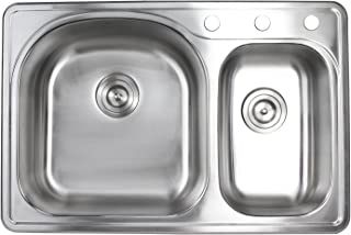 33 Inch Top-mount/Drop-in Stainless Steel 70/30 Double Bowl Kitchen Sink With 3 Faucet Holes - 18 Gauge