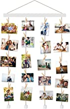 Halcent Hanging Photo Picture Frame Collage, Hanging Wall Photo Picture Display Frame with 24 Photo Clips Wall Decor