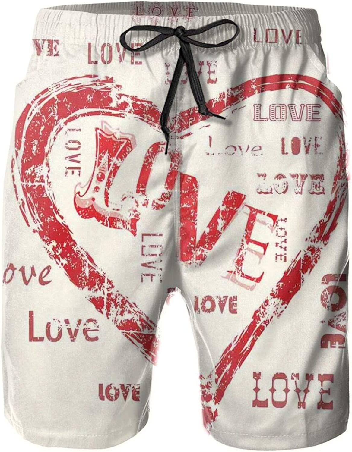 Retro Heart Pattern with Love Calligraphy Passionate Emotions Romantic Pattern Mens Swim Trucks Shorts with Mesh Lining,M