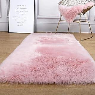 ZLJ Tapis de Style en Peau de Mouton en Fausse Fourrure Couverture de Chaise en Fausse Polaire Coussin de siège Tapis Doux...