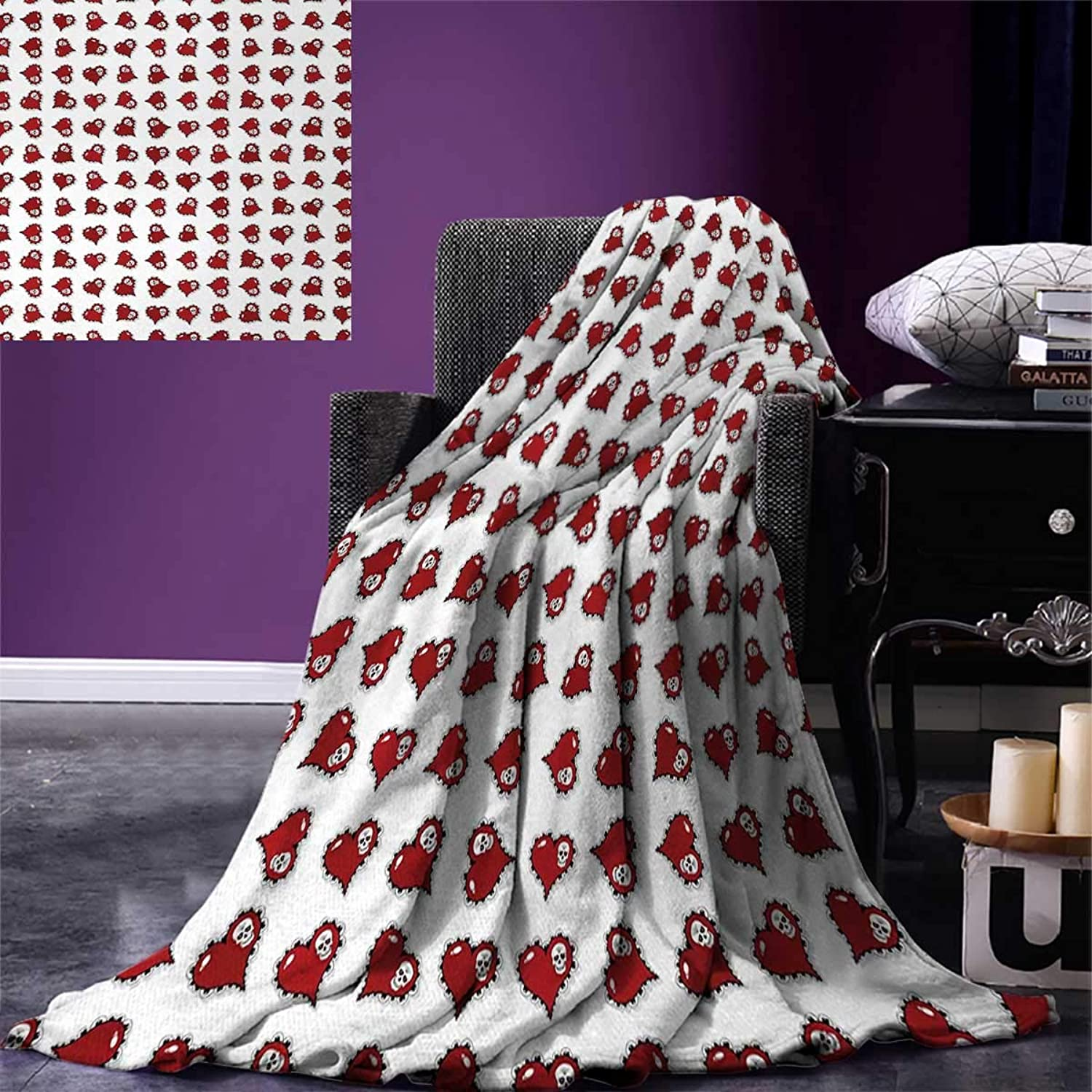 Anniutwo Skull King Flannel Blanket Vibrant Skeleton Patterns Inside Ornate Gothic Victorian Style Red Hearts Weave Pattern Extra Long Blanket 90 x108  Ruby Red Black White
