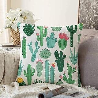 N\A Fundas Decorativas para Cojines Funda de cojín Terrario de Plantas Naturales Tropical Doodle Bloom Floral Cactus Mexicano Aloe Set Spiny Desert Nature Funda de Almohada para sofá