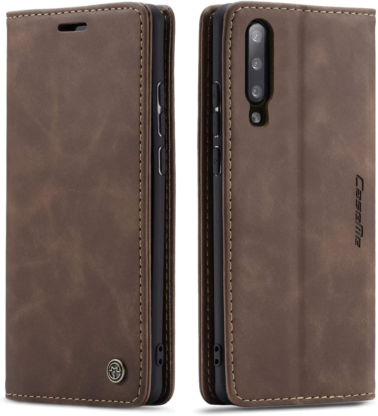 SENSKO Samsung A50 Wallet Case,Magnetic Stand Flip Protective Cover Book Style Leather Flip Cover Durable Shockproof Protective Case for Samsung A50(Coffee)