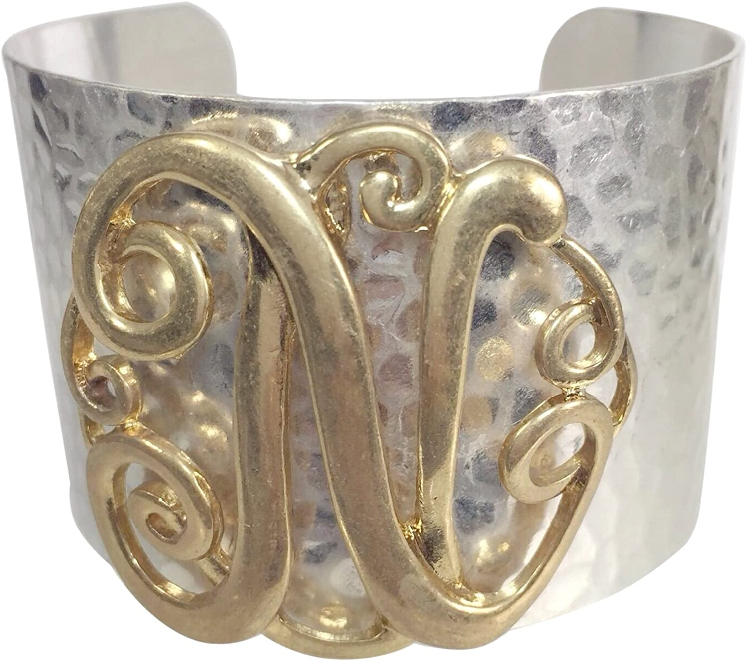 Gypsy Jewels Wide 2 Tone Hammered Boutique Look Monogram Initial Cuff Bracelet