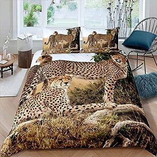Feelyou Boys Kids Child Leopard Comforter Cover Set Twin,Fierce Cheetah Duvet Cover,Safari Wild Animal Printed Quilt Cover,Bedroom Decorative 2 Piece Bedding Set with 1 Pillow Sham,Zipper Ties