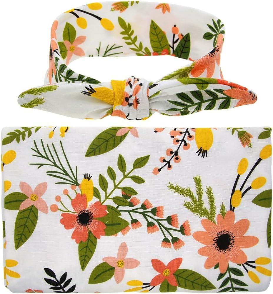 Newborn Baby wraps with headband,Flower Print Receiving Blanket(18)