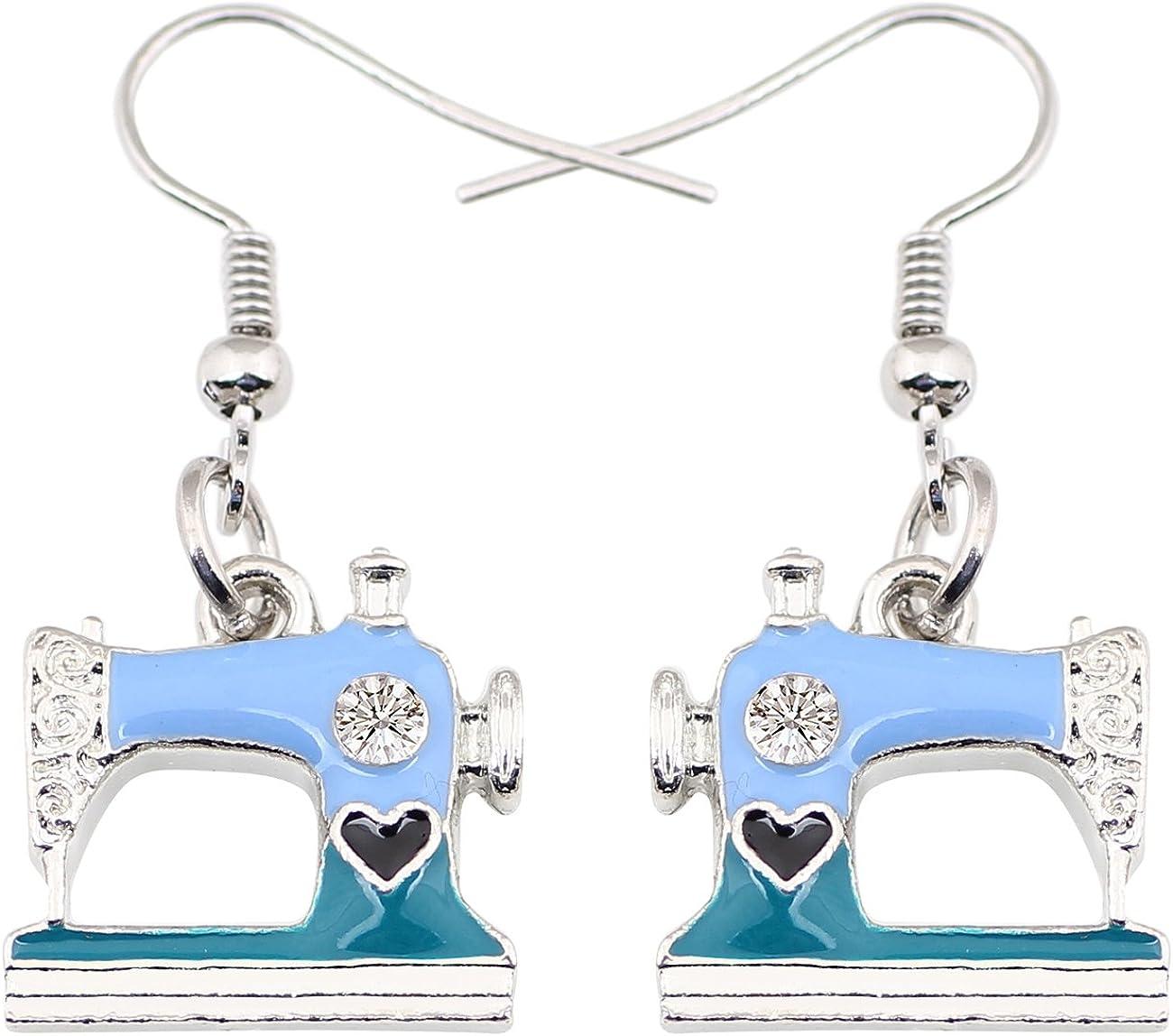DUOWEI Sewing Machine Earrings Metal Enamel Drop Dangle Fashion Spring Summer Jewelry Gifts for Women Teens Girls
