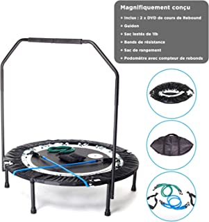 Maximus Pro Quarter Foldable Rebounder Mini Trampoline for Adults Includes 2 x DVD's + 7 Workouts, Rebounder with Handle Bar, Storage/Carry Bag, Resistance Bands & Weights Free Video Membership! Adult