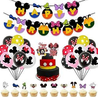 Decoraciones de cumpleaños de Mickey Mouse - WENTS 57PCS Banner de Happy Birthday adorno de pastel Globos de lunares para ...