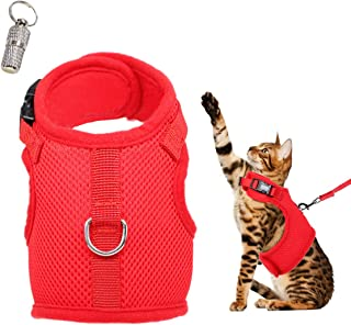 WONDERPUP Adjustable Cat Harness with Leash Set for Walking Escape Proof Soft Air Mesh for Kitty Puppy Rabbits Small Dogs Animal