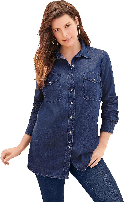 Roamans Women's Plus Size Olivia Denim Big Shirt Bigshirt