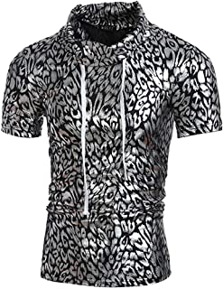 Men's Printed Short Sleeve T-Shirt Fashion Slim Fit Tees (Color : Silver, Size : Large)