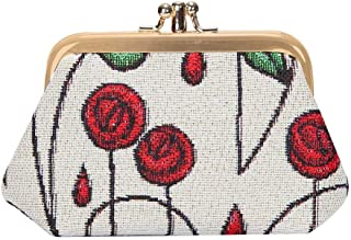 Charles Rennie Mackintosh Rose Art Nouveau Coin Purse for Women/Clasp Change Purse for Women from Signare Tapestry/FRMP-RMSP