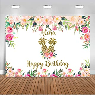Mocsicka Floral Birthday Party Backdrop 7x5ft Vinyl Happy Birthday Party Macrame Photo Backdrops Aloha Hula Pineapple Banner Photography Background