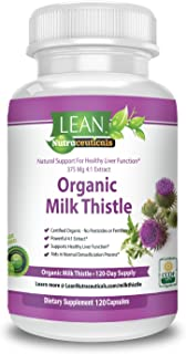 Lean Nutraceuticals Certified Organic Milk Thistle Capsules 1500mg 4 to 1 Concentrated Extract Milk Thistle Supplement Silymarin Excels at Liver Cleanse, Detox and Support 120 Caps