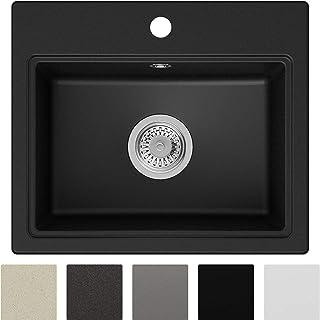 Spülbecken Schwarz 51 x 43,5 cm, Granitspüle  Siphon Klassisch, Küchenspüle ab 50er Unterschrank in 5 Farben mit Siphon und Antibakterielle Varianten, Einbauspüle von Primagran