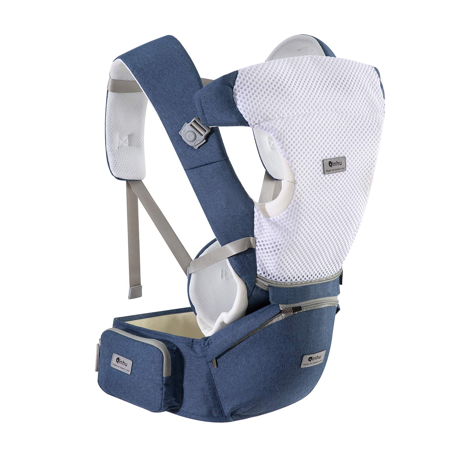 QINHU Baby Carrier, Multifunction Baby Carrier Hip Seat for 3-36 Month Baby, 6-in-1 Ways to Carry, Adjustable Size,All Seasons, Perfect for Hiking Shopping Travelling Blue