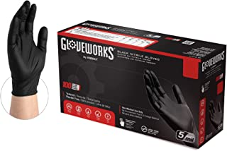 GLOVEWORKS Industrial Black Nitrile Gloves, Box of 100, 5 Mil, Size Small, Latex Free, Powder Free, Textured, Disposable, ...