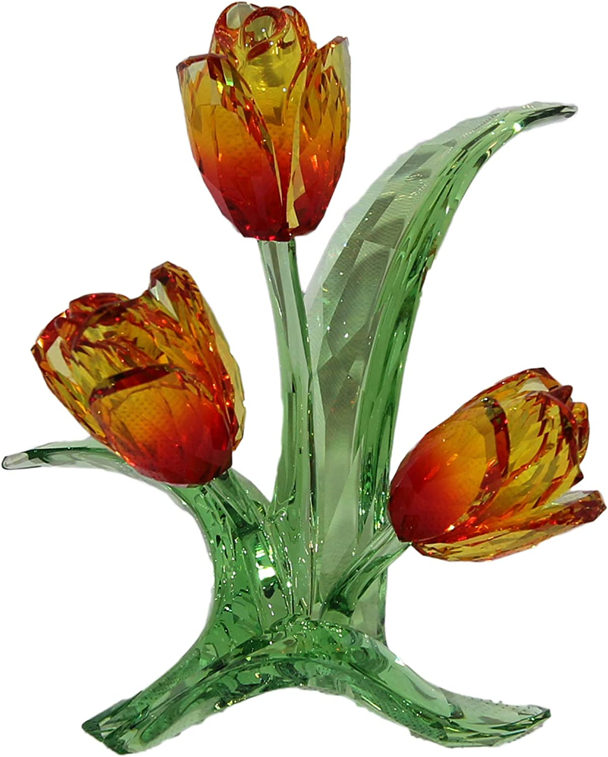 SWAROVSKI Crystal Authentic Crystal Flowers, Tulips - Beautiful Flower Figurine - Glass Ornament for Home Decoration