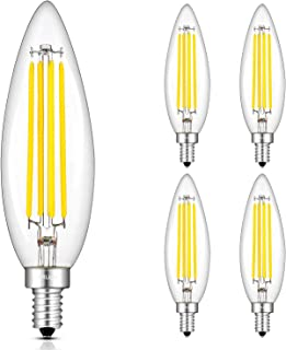 CRLight 8W 4000K LED Candelabra Bulb Daylight White, 80W Equivalent 800 Lumens Dimmable E12 Base LED Candle Bulbs, Upgraded Lengthened B11 Clear Glass Torpedo Shape Chandelier Light Bulbs, 4 Pack