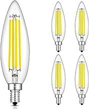 CRLight 8W 4000K LED Candelabra Bulb Daylight White, 80W Equivalent 800 Lumens Dimmable E12 Base LED Candle Bulbs, Upgraded Lengthened B11 Clear Glass Torpedo Shape Chandelier Light Bulbs, 4 Pack