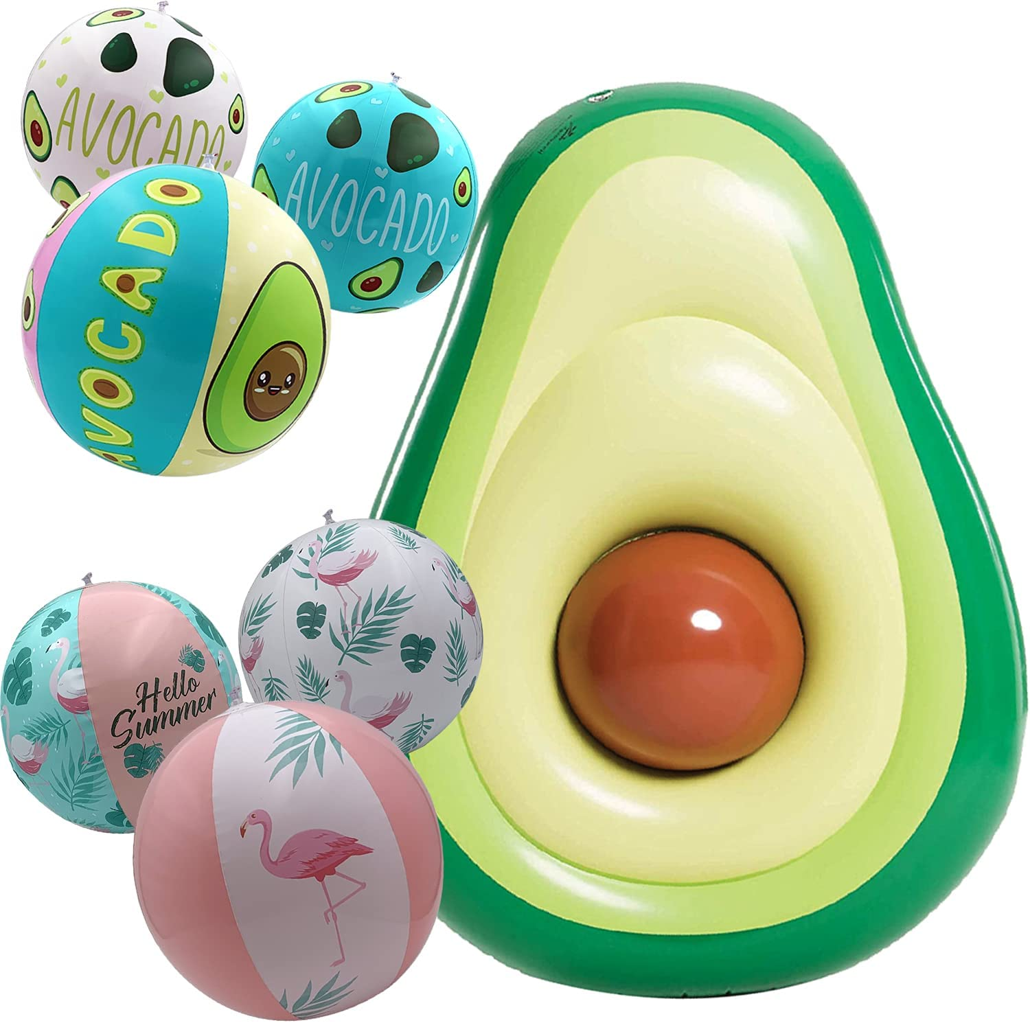 1 Large famous 65 in Avocado Inflatable + Beach Los Angeles Mall Ball Set 3 of