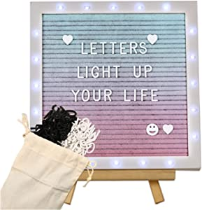 Gradient Felt Letter Board with LED Lights- 10 × 10 Inch Felt Changeable Message Board with Romantic White Frame 510 Black & White Pre-Cut Letters for Making Valentine's Day Wedding Party Decor