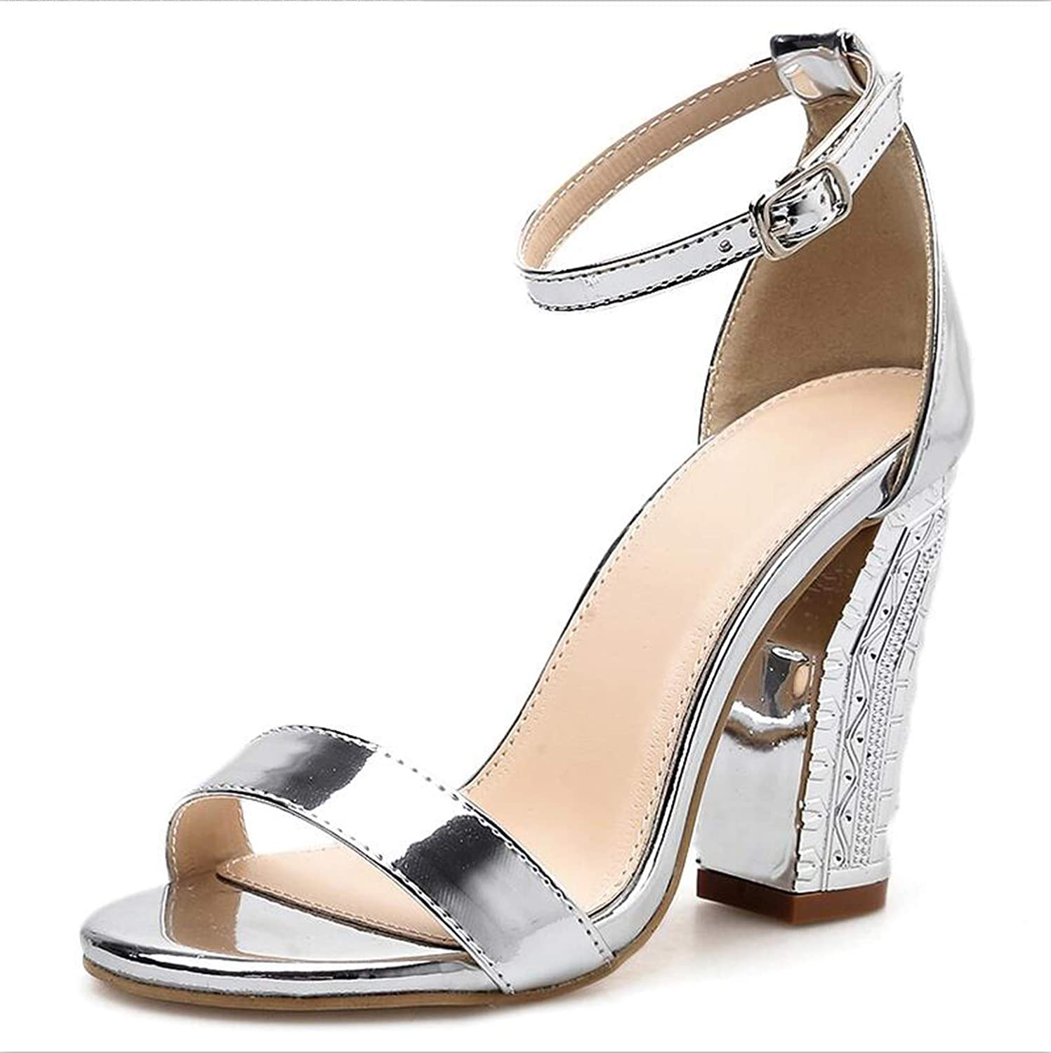 Summer Sandals Thick Square Block High Heel shoes Patent Leather Ankle Strap Pumps Dress shoes Sandalias