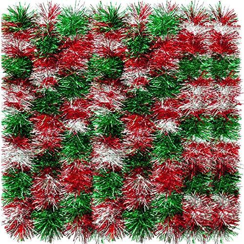 eBoot 32,8 Fuß Glänzende Lametta Girlande Weihnachten Metallisch Lametta Girlande Hängende Dekoration für Weihnachtsbaum Kranz Hochzeit Party Lieferungen (Silber, Rot und Grün)