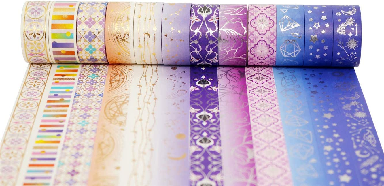DIY Crafts Planners Bullet Journal Supplies Scrapbook Card//Gift Wrapping -15mm- Purple Night 12 Rolls YUBBAEX Poetic Gold Washi Tape Set VSCO Floral Foil Masking Tape Decorative for Arts