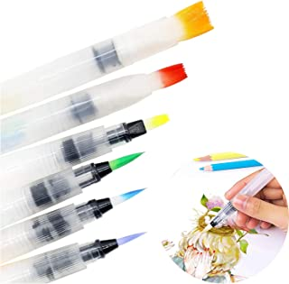 JHFart Water Coloring Brush Pens 6 Set, Brushes Used with Water-Soluble Color Pencils, Water-Base Markers, Solid Water Color Painting, Powdered Pigment, Art Supplies