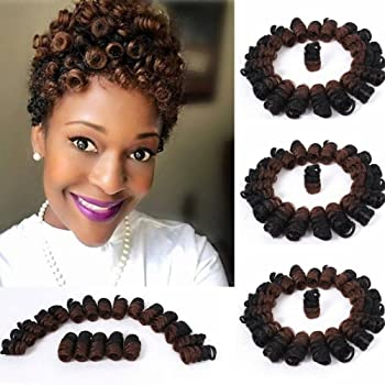 3 Packs Eunice Hair Synthetic Kenzie Curl Crochet Braids Short Crochet Braiding Bouncy Twist Spiral Curls Jamaican Bounce Twist Hair Extensions 20 Strands/Pack(10 inch kenzie, ombre 30)