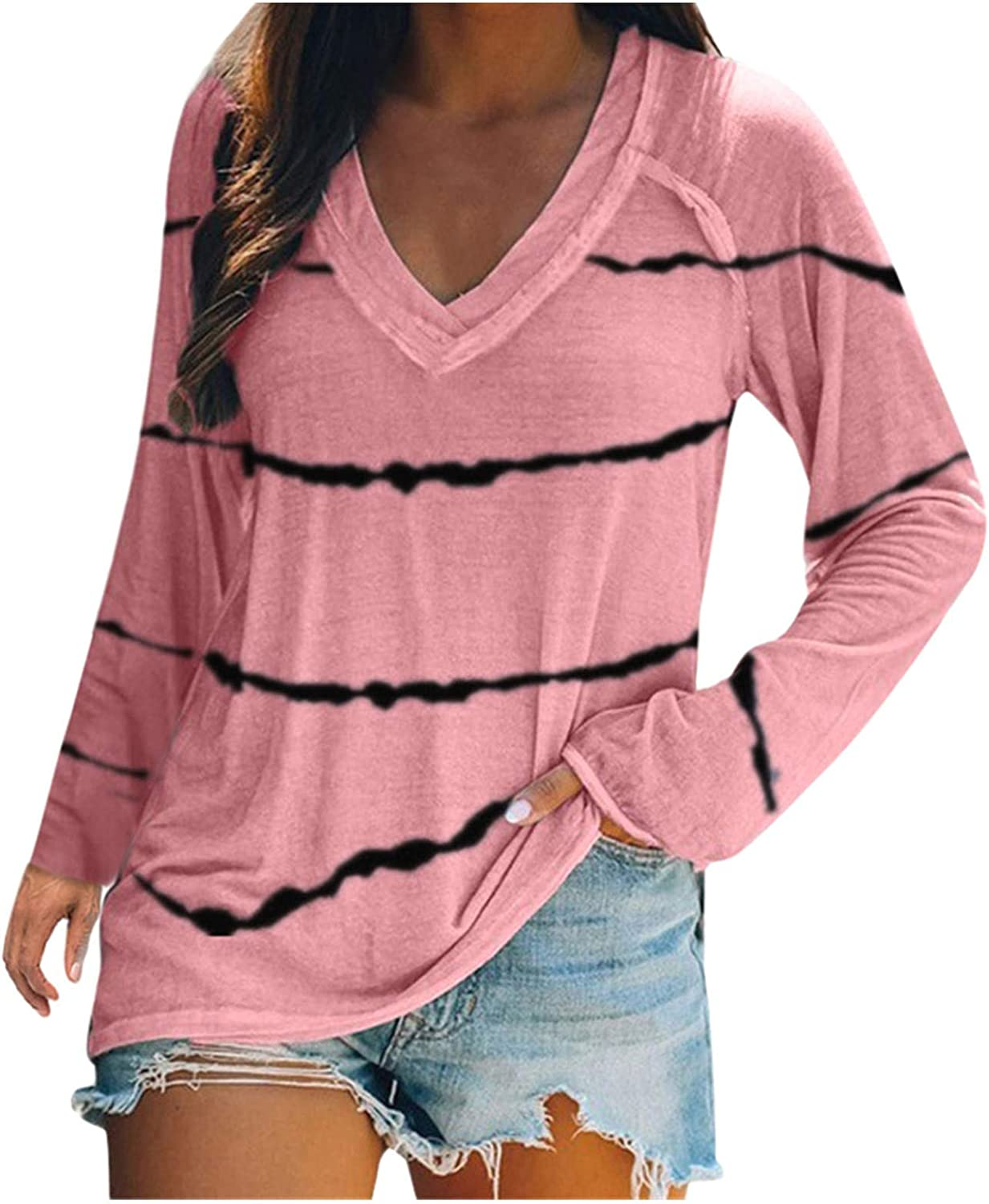 Pullover Shirt for Women's Long Sleeve V-Neck Tunic Tops Casual Blouse T Shirt Button Stripe Loose Tunic Shirts