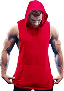 Men's Workout Hooded Tank Tops Bodybuilding Muscle Cut Off T Shirt Sleeveless Gym Hoodies