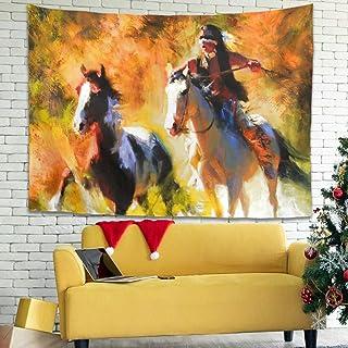 Hothotvery Tapiz abstracto indio autóctono para la pared con diseño de caballo, estampado psicodélico y psicodélico, para ...