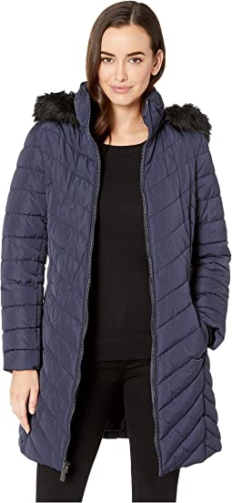 3/4 Chevron Quilted Puffer w/ Faux Fur Hood