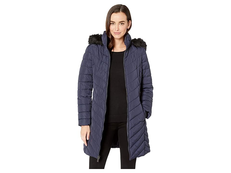 Kenneth Cole New York 3/4 Chevron Quilted Puffer w/ Faux Fur Hood (Navy) Women's Coat