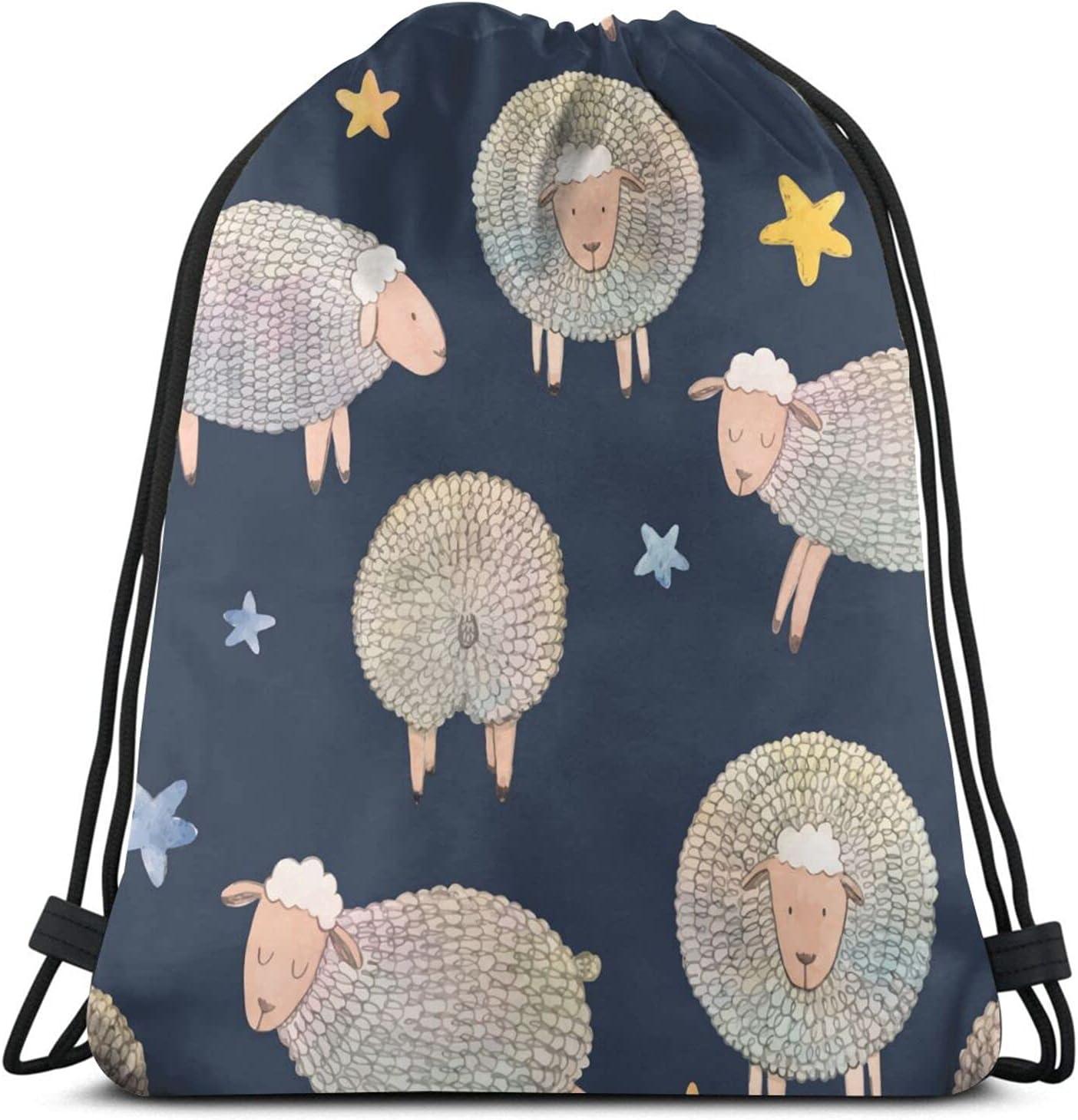 Doodle Sheep Stars Drawstring Backpack Yoga Bag Max 79% OFF Hikin Max 43% OFF Gym Sports