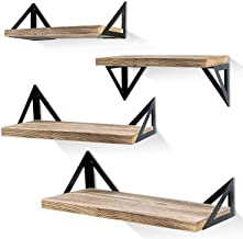 Best Klvied Floating Shelves Wall Mounted Set of 4, Rustic Wood Wall Shelves, Storage Shelves for Bedroom, Living Room, Bathroom, Kitchen, Office and More, Carbonized Black Review