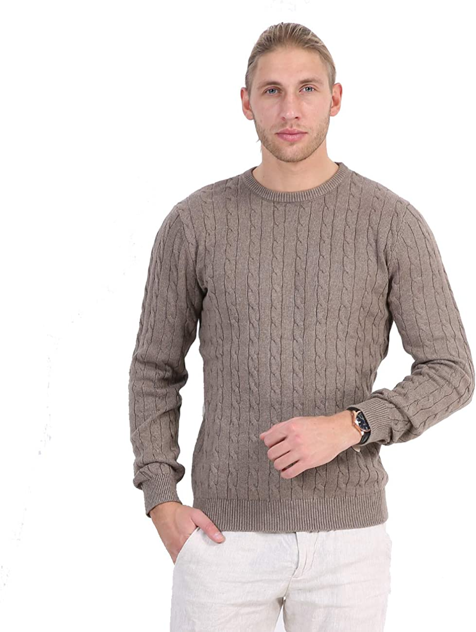 R.PRINCE Men' s Pullover Shirt Comfy Cotton Sweaters for Men Lightweight Cable Stitch Crewneck
