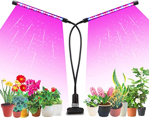Likesuns Led Grow Light Plant Light 20W for Indoor Plants, Dual Head 40 LED 10 Dimmable Levels Timing Function 3/9/12...